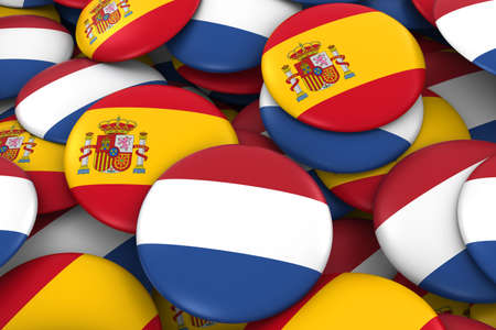 spanish flag: Netherlands and Spain Badges Background - Pile of Dutch and Spanish Flag Buttons 3D Illustration