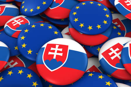 Slovakia and EU Badges Background - Pile of Slovakian and European Flag Buttons 3D Illustration Stock Photo