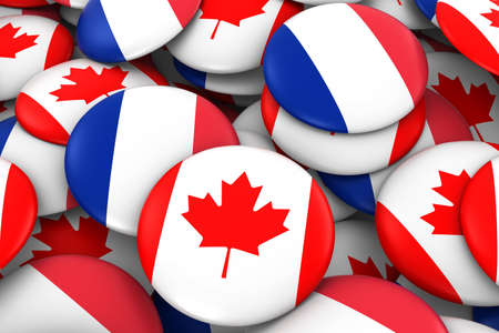 canadian flag: France and Canada Badges Background - Pile of French and Canadian Flag Buttons 3D Illustration