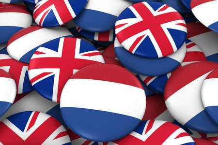 dutch: Netherlands and UK Badges Background - Pile of Dutch and British Flag Buttons 3D Illustration Stock Photo