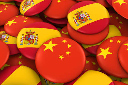 spanish flag: China and Spain Badges Background - Pile of Chinese and Spanish Flag Buttons 3D Illustration
