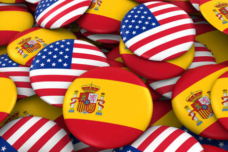 Spain and USA Badges Background - Pile of Spanish and US Flag Buttons 3D Illustration Imagens