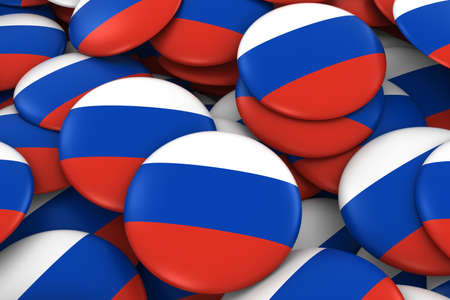russian  russia: Russia Badges Background - Pile of Russian Flag Buttons 3D Illustration