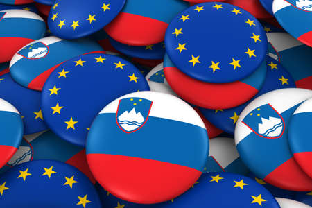 slovenian: Slovenia and EU Badges Background - Pile of Slovenian and European Flag Buttons 3D Illustration Stock Photo