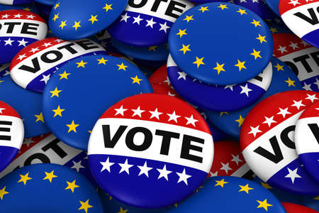 Vote and EU Badges Background - Pile of Polticial Campaign and European Flag Buttons 3D Illustration Stock Photo