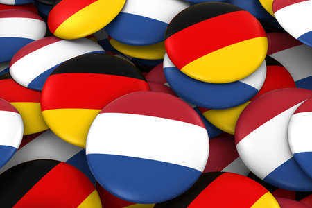 german flag: Netherlands and Germany Badges Background - Pile of Dutch and German Flag Buttons 3D Illustration