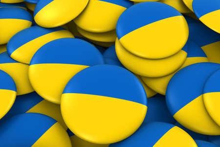 ukrainian flag: Ukraine Badges Background - Pile of Ukrainian Flag Buttons 3D Illustration Stock Photo