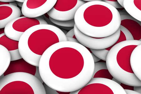 bandera japon: Japan Badges Background - Pile of Japanese Flag Buttons 3D Illustration
