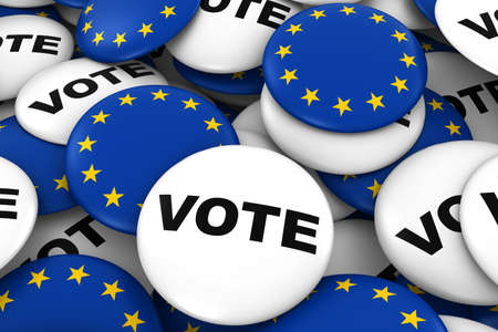 voters: Vote and EU Badges Background - Pile of Polticial Campaign and European Flag Buttons 3D Illustration Stock Photo