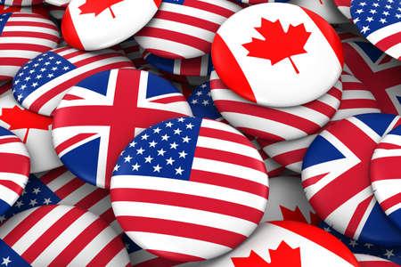 US, UK and Canada Flag Badge Pile Background 3D Illustration Stock Photo