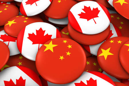 canadian flag: China and Canada Badges Background - Pile of Chinese and Canadian Flag Buttons 3D Illustration Stock Photo
