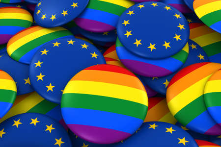 Gay Pride and EU Badges Background - Pile of Rainbow and European Flag Buttons 3D Illustration