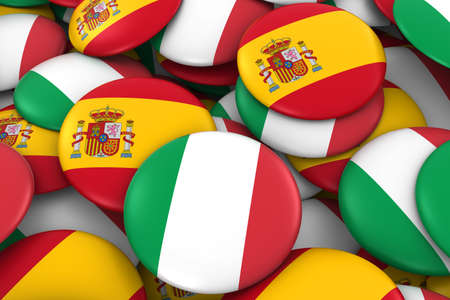 spanish flag: Italy and Spain Badges Background - Pile of Italian and Spanish Flag Buttons 3D Illustration