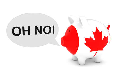 Canada Flag Piggy Bank with Oh No! Text Speech Bubble 3D Illustration Stock Photo
