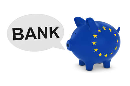 eu flag: EU Flag Piggy Bank with Bank Text Speech Bubble 3D Illustration Stock Photo