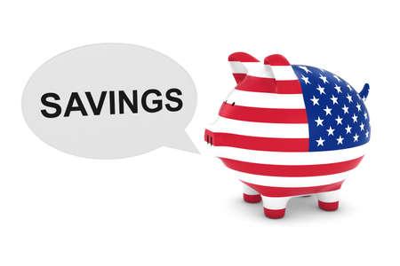 US Flag Piggy Bank with Savings Text Speech Bubble 3D Illustration