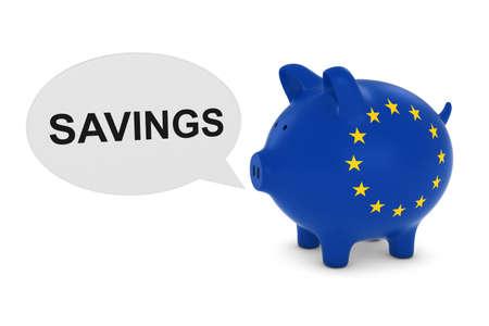 eu flag: EU Flag Piggy Bank with Savings Text Speech Bubble 3D Illustration
