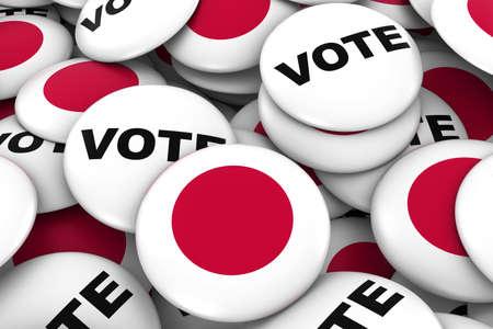 bandera japon: Japan Elections Concept - Japanese Flag and Vote Badges 3D Illustration Foto de archivo