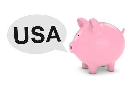 Piggy Bank with USA Text Speech Bubble 3D Illustration