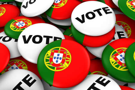 voters: Portugal Elections Concept - Portuguese Flag and Vote Badges 3D Illustration