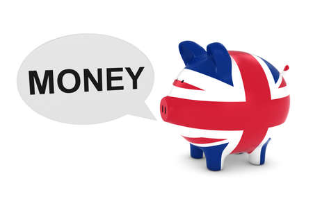 uk money: UK Flag Piggy Bank with Money Text Speech Bubble 3D Illustration