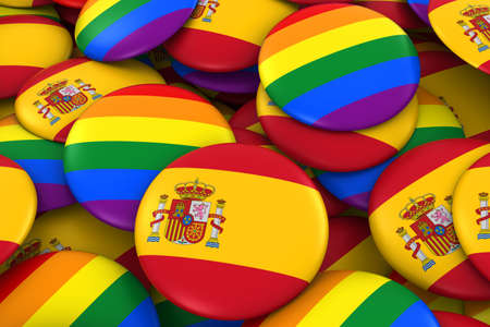 spanish flag: Spain Gay Rights Concept - Spanish Flag and Gay Pride Badges 3D Illustration Stock Photo