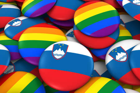 gay pride: Slovenia Gay Rights Concept - Slovenian Flag and Gay Pride Badges 3D Illustration