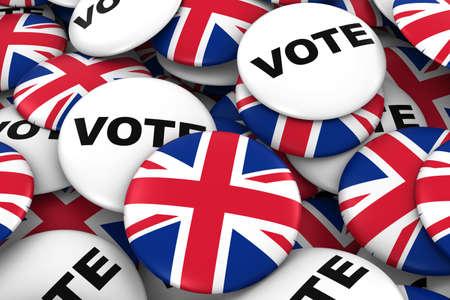 bandera reino unido: British concepto de las elecciones - Bandera de Reino Unido y de la ilustraci�n de votar Placas 3D