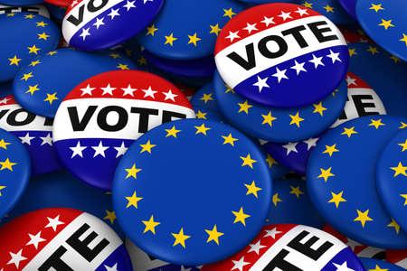 eu flag: European Elections Concept - EU Flag and Vote Badges 3D Illustration