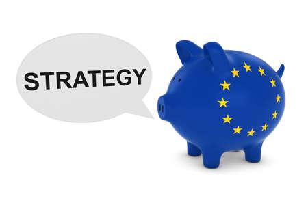 eu flag: EU Flag Piggy Bank with Strategy Text Speech Bubble 3D Illustration