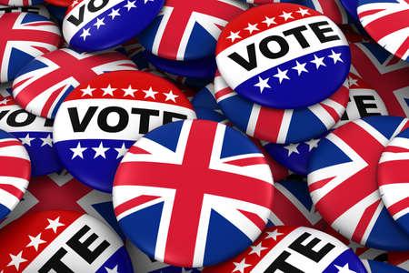 British Elections Concept - UK Flag and Vote Badges 3D Illustration