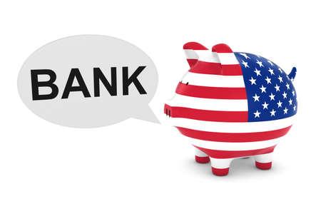 US Flag Piggy Bank with Bank Text Speech Bubble 3D Illustration