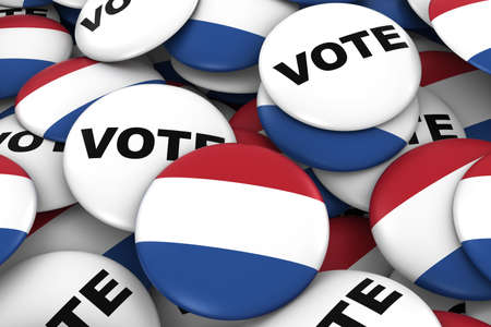 dutch flag: Netherlands Elections Concept - Dutch Flag and Vote Badges 3D Illustration Stock Photo