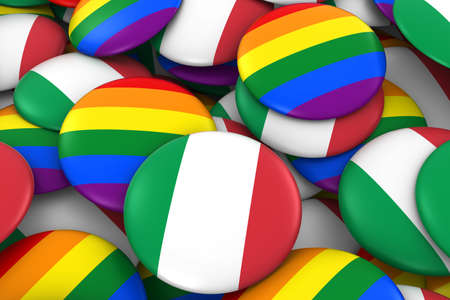 gay pride: Italy Gay Rights Concept - Italian Flag and Gay Pride Badges 3D Illustration