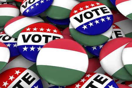 hungarian: Hungary Elections Concept - Hungarian Flag and Vote Badges 3D Illustration