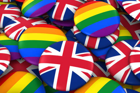 gay pride: United Kingdom Gay Rights Concept - British Flag and Gay Pride Badges 3D Illustration