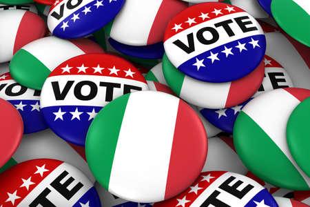 italian politics: Italy Elections Concept - Italian Flag and Vote Badges 3D Illustration