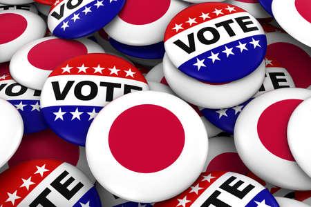 bandera japon: Jap�n concepto de las elecciones - Bandera japonesa e Ilustraci�n Placas Voto 3D Foto de archivo