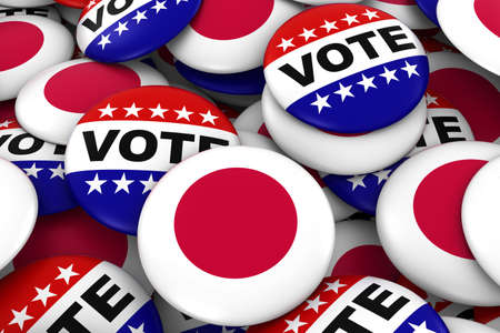 japanese flag: Japan Elections Concept - Japanese Flag and Vote Badges 3D Illustration Stock Photo