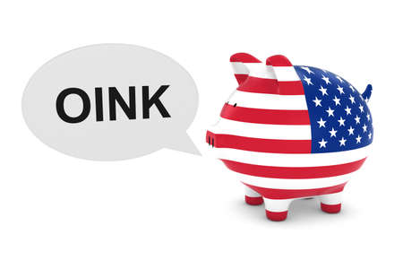 oink: US Flag Piggy Bank with Oink Text Speech Bubble 3D Illustration