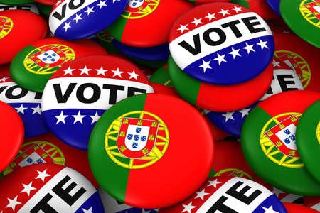 Portugal Elections Concept - Portuguese Flag and Vote Badges 3D Illustration