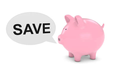 financial advice: Piggy Bank with Save Text Speech Bubble 3D Illustration Stock Photo