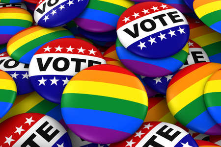 Vote for Gay Rights Concept - Gay Pride and Vote Badges 3D Illustration Imagens - 60578099