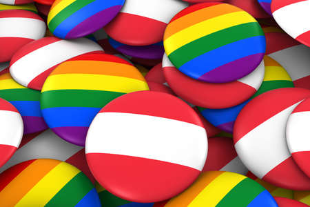 austria flag: Austria Gay Rights Concept - Austrian Flag and Gay Pride Badges 3D Illustration
