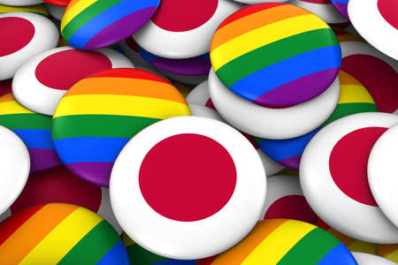 japanese flag: Japan Gay Rights Concept - Japanese Flag and Gay Pride Badges 3D Illustration