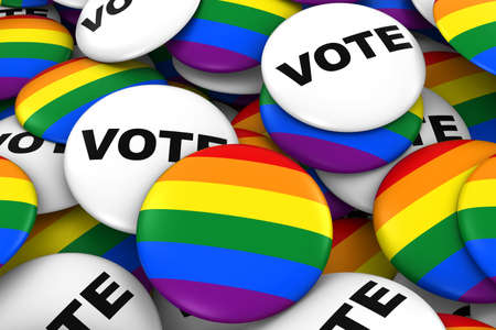 voting rights: Vote for Gay Rights Concept - Gay Pride and Vote Badges 3D Illustration