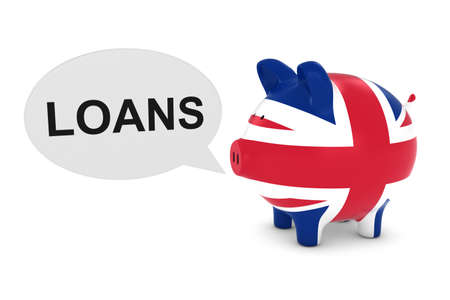 uk flag: UK Flag Piggy Bank with Loans Text Speech Bubble 3D Illustration