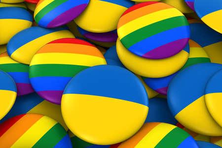 ukrainian flag: Ukraine Gay Rights Concept - Ukrainian Flag and Gay Pride Badges 3D Illustration Stock Photo