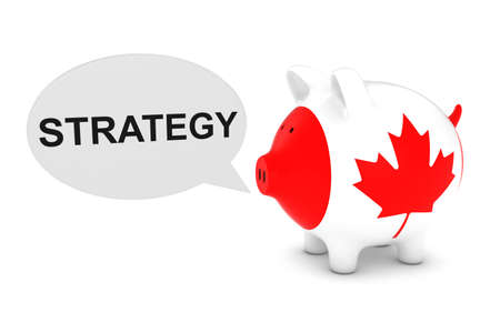 canadian coin: Canada Flag Piggy Bank with Strategy Text Speech Bubble 3D Illustration