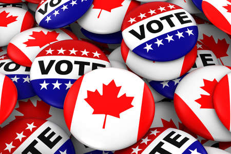 canadian flag: Canada Elections Concept - Canadian Flag and Vote Badges 3D Illustration Stock Photo